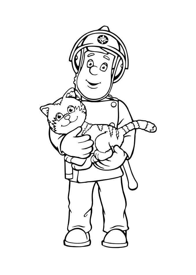 Simple Fireman Sam coloring page for kids