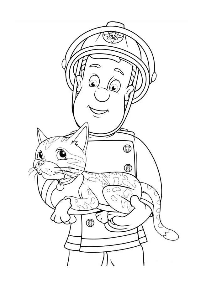 Incredible Fireman Sam coloring page to print and color for free
