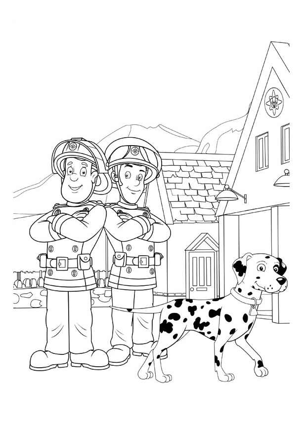 Beautiful Fireman Sam coloring page to print and color