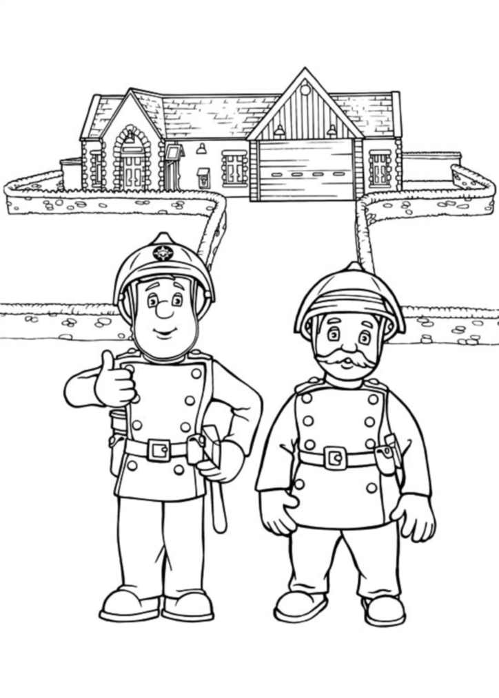 Funny Fireman Sam coloring page for kids