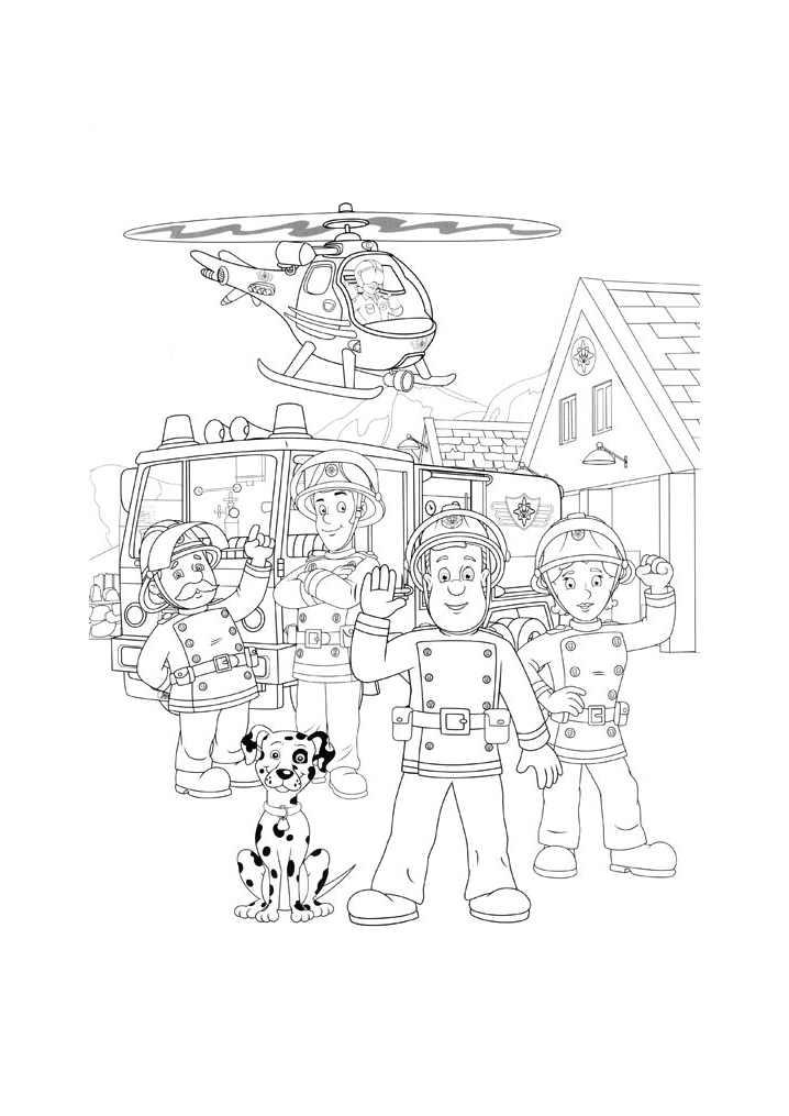 Funny Fireman Sam coloring page