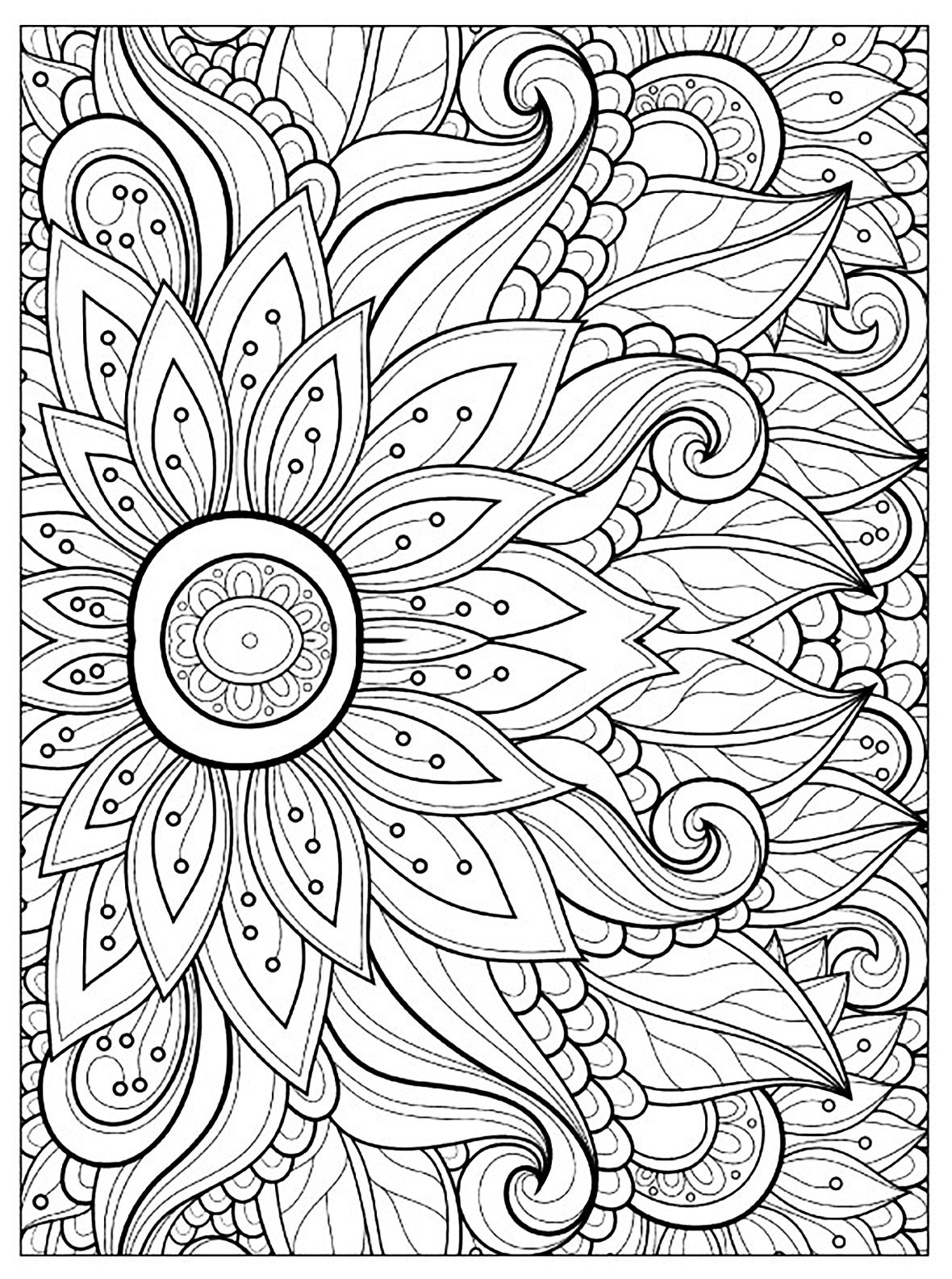 Free Flowers coloring page to download