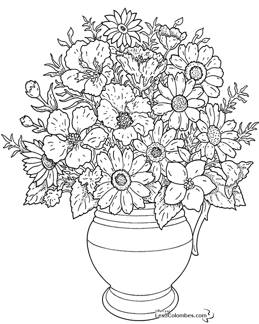 Free Flowers coloring page to print and color, for kids