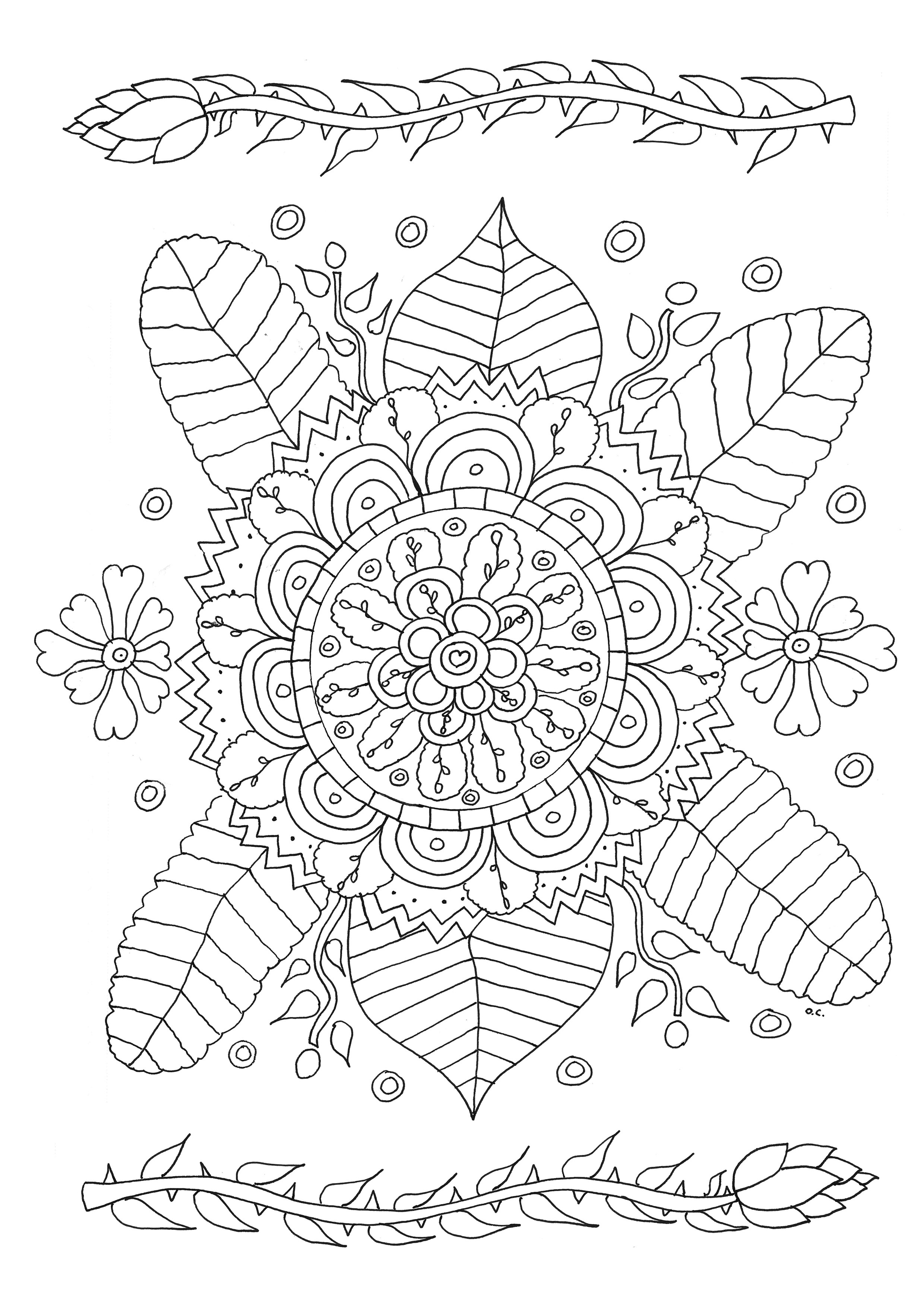 Flowers coloring page to print and color