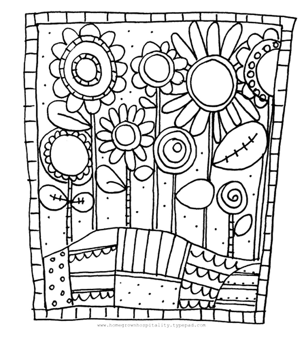 Flowers coloring page to download for free