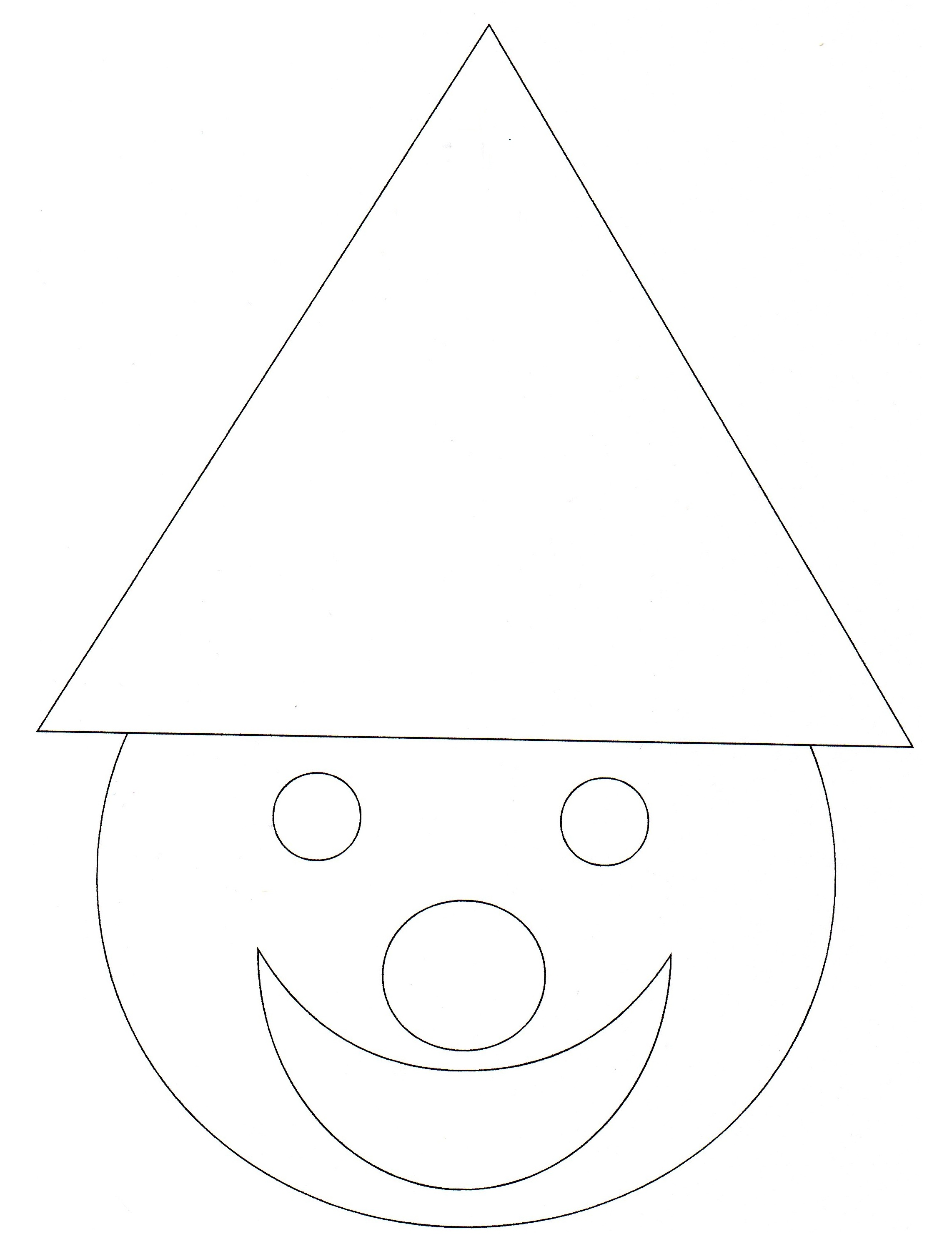 Simple geometric shapes coloring page : cute character created with some forms : triangle, circles ...