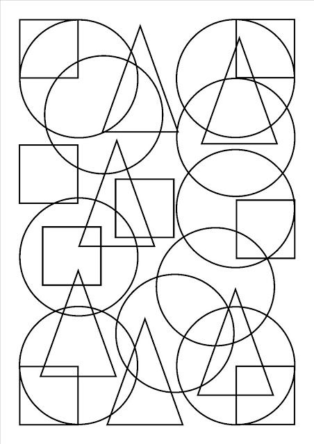 Cute free geometric shapes coloring page to download : squares & circles