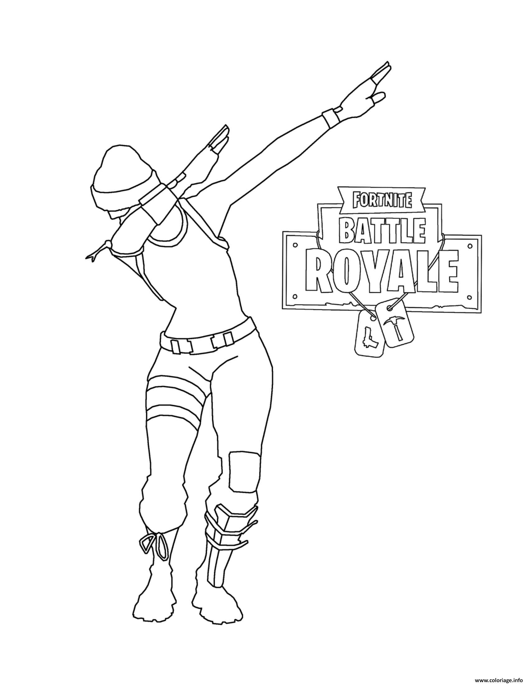 Coloring page fortnite battle royale dab the famous dab