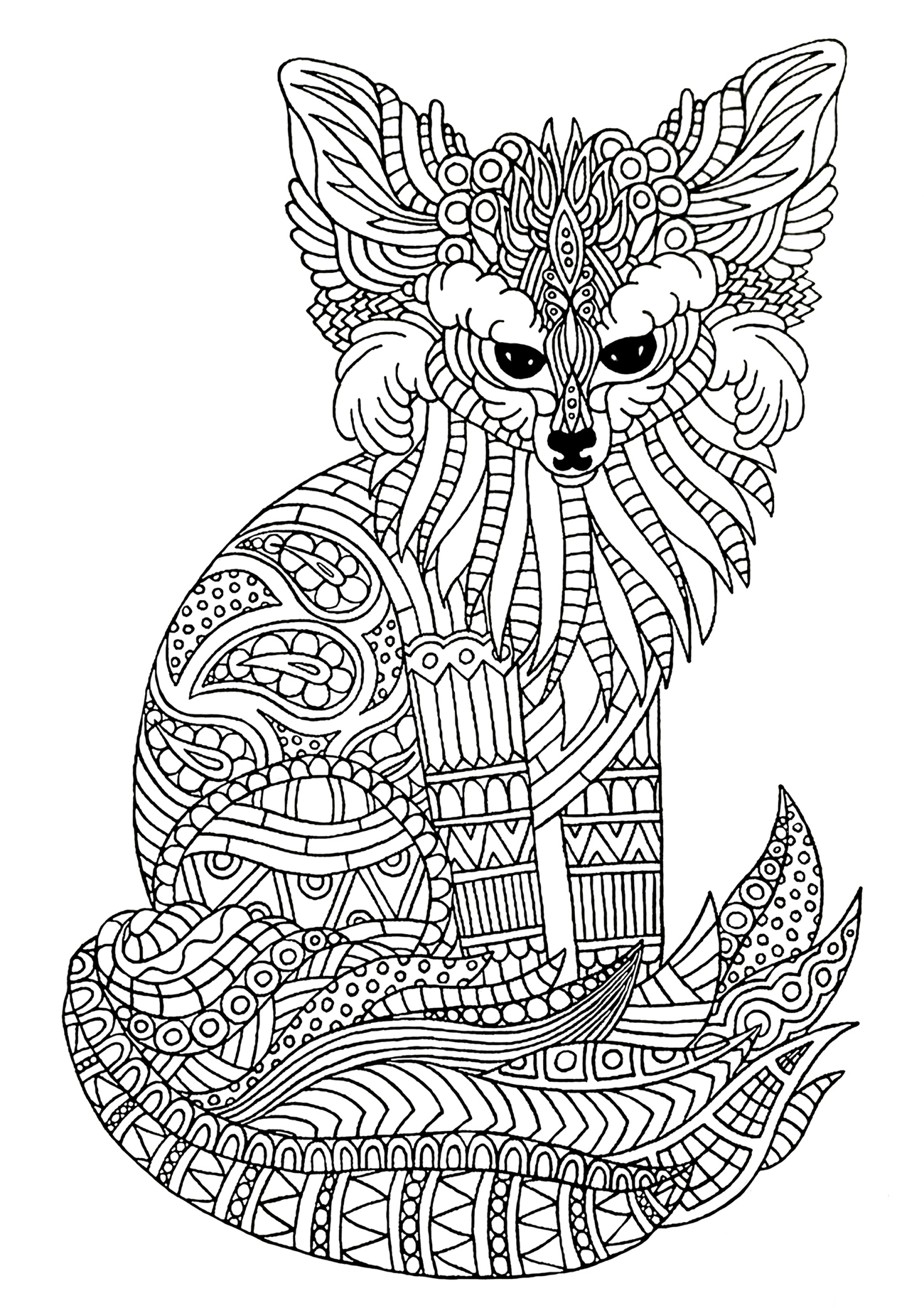 Funny free Fox coloring page to print and color
