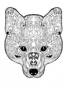 Coloring page fox for children
