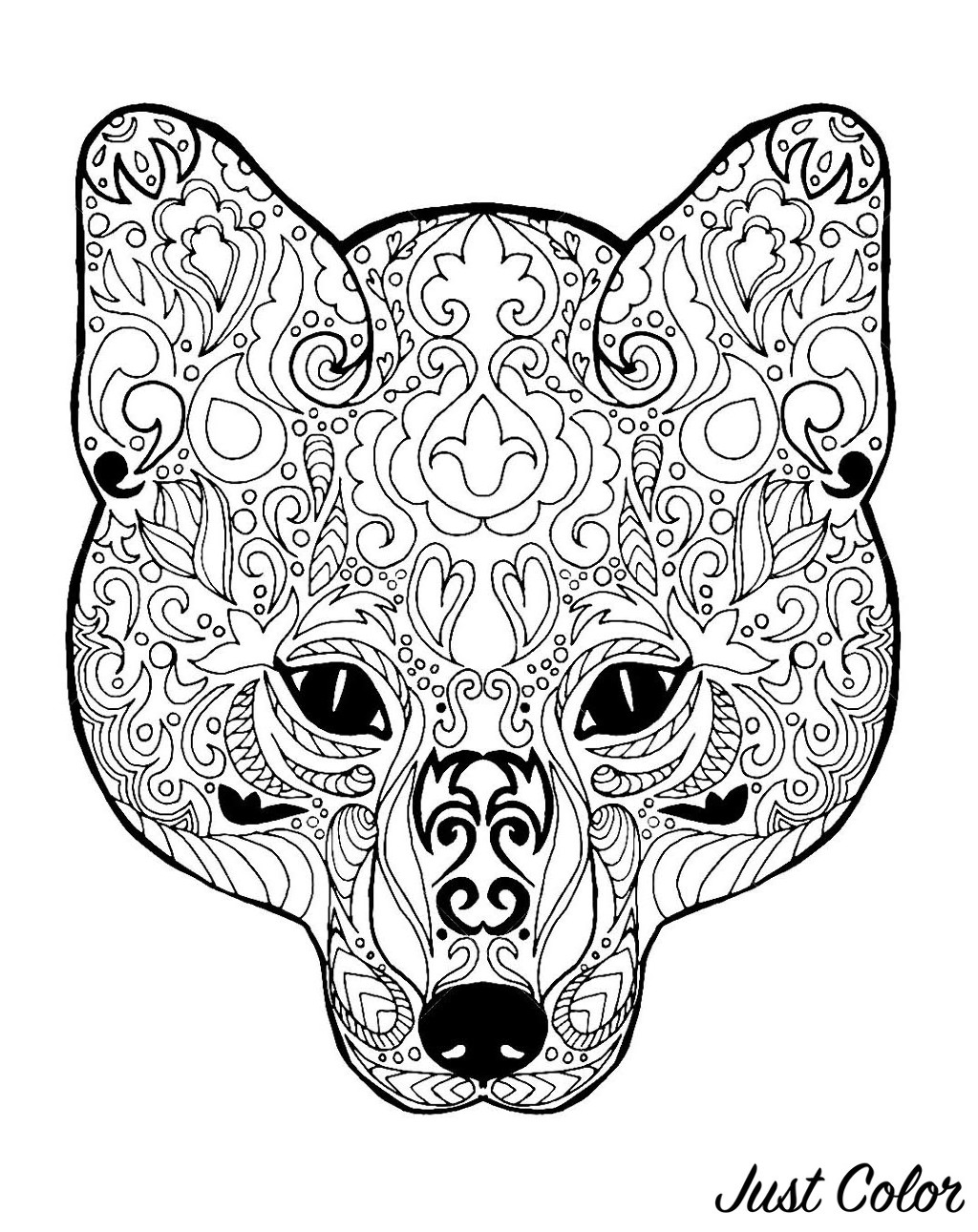 Simple Fox coloring page to print and color for free