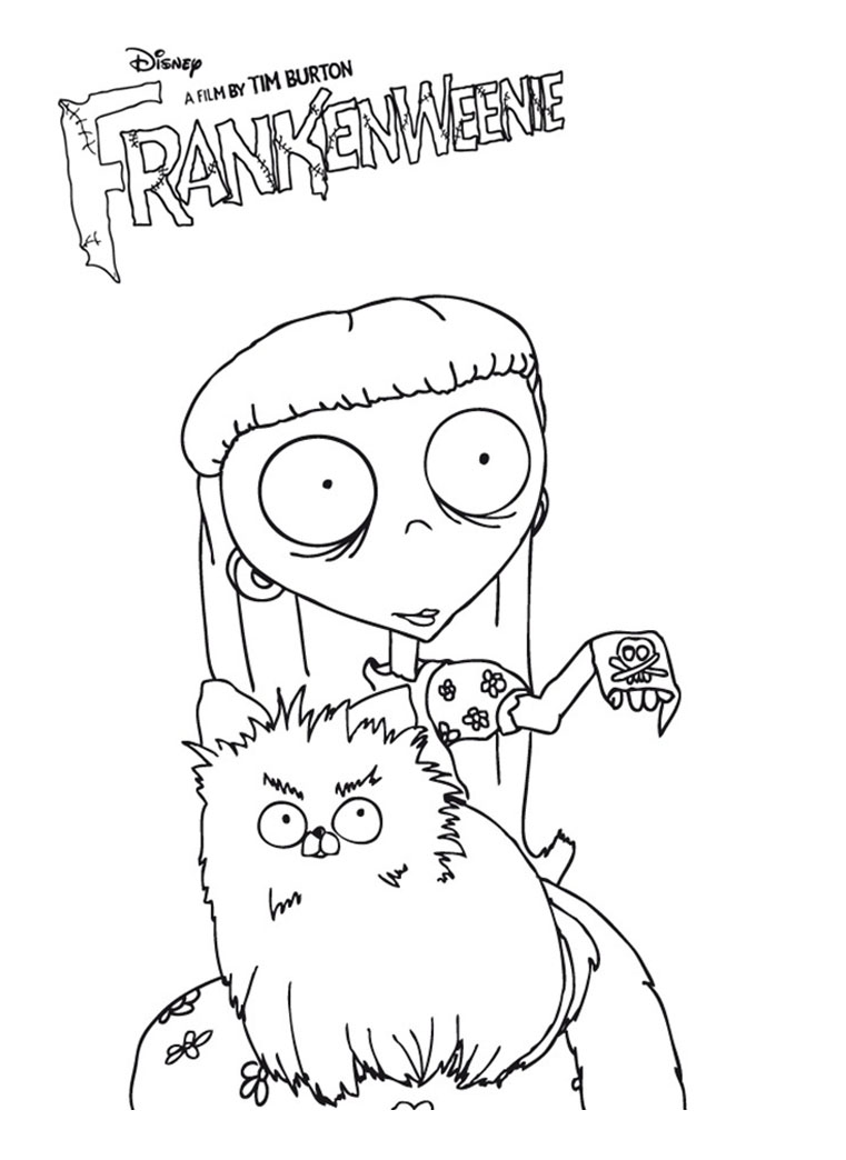 Simple free Frankenweenie coloring page to print and color