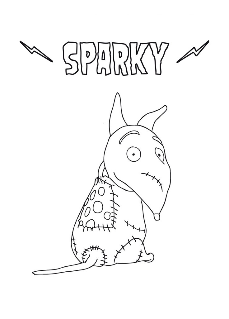 Free Frankenweenie coloring page to print and color