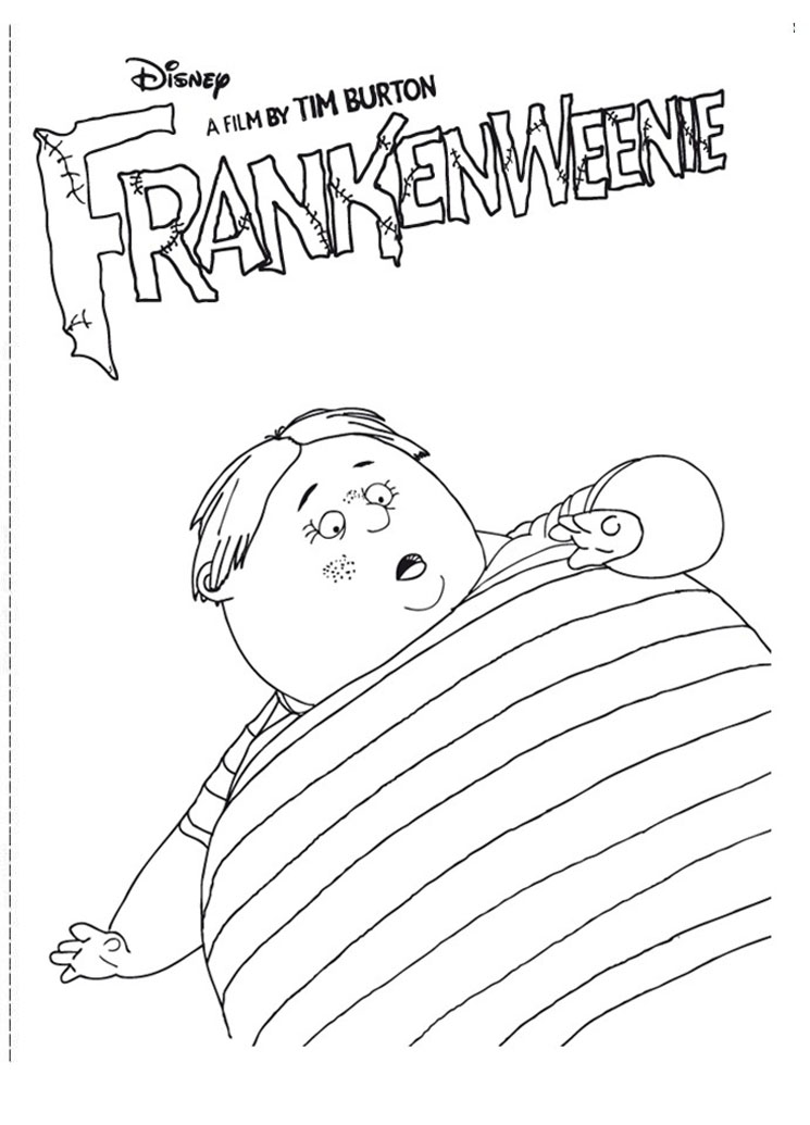 Simple Frankenweenie coloring page to print and color for free