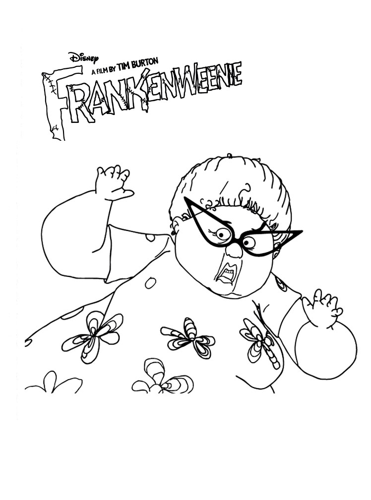 Frankenweenie coloring page to print and color for free