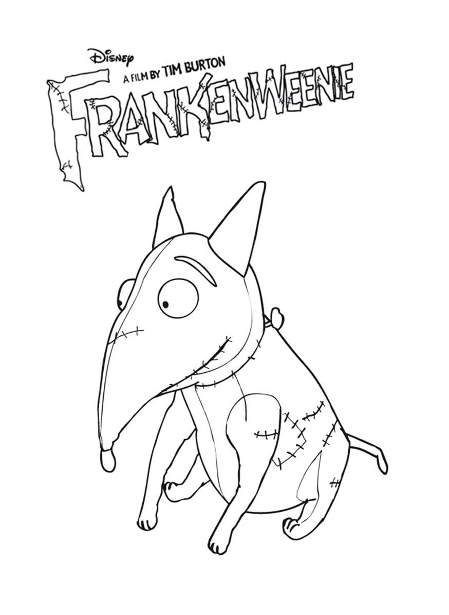 Printable Frankenweenie coloring page to print and color