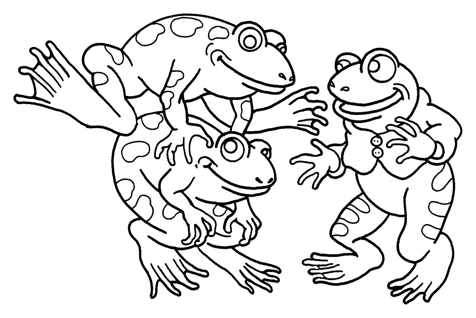 Funny free Frogs coloring page to print and color