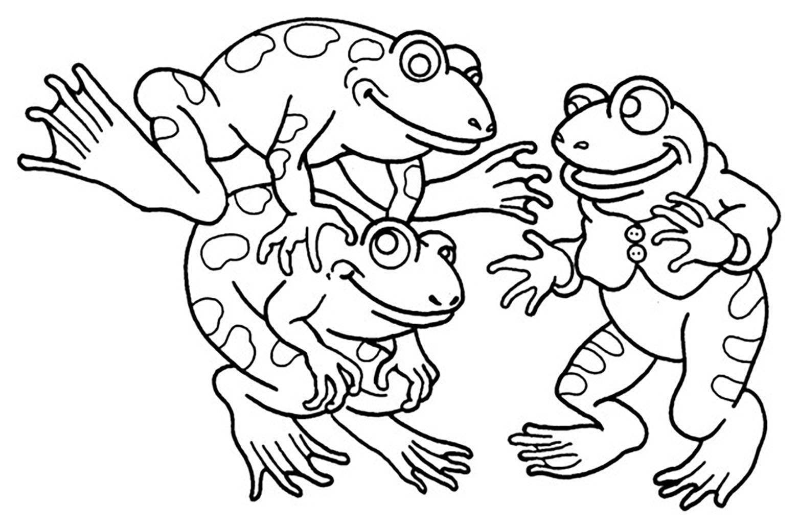 Frogs coloring page to print and color