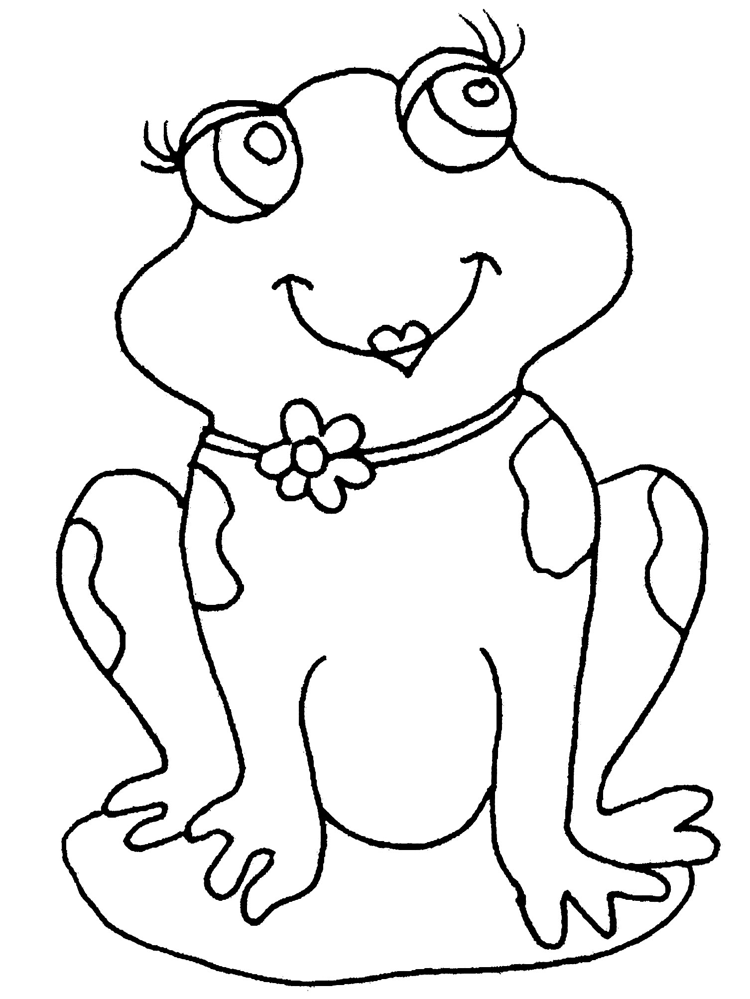 Easy free Frogs coloring page to download