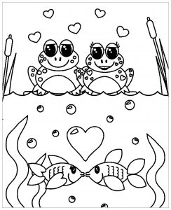 Coloring page frogs to download