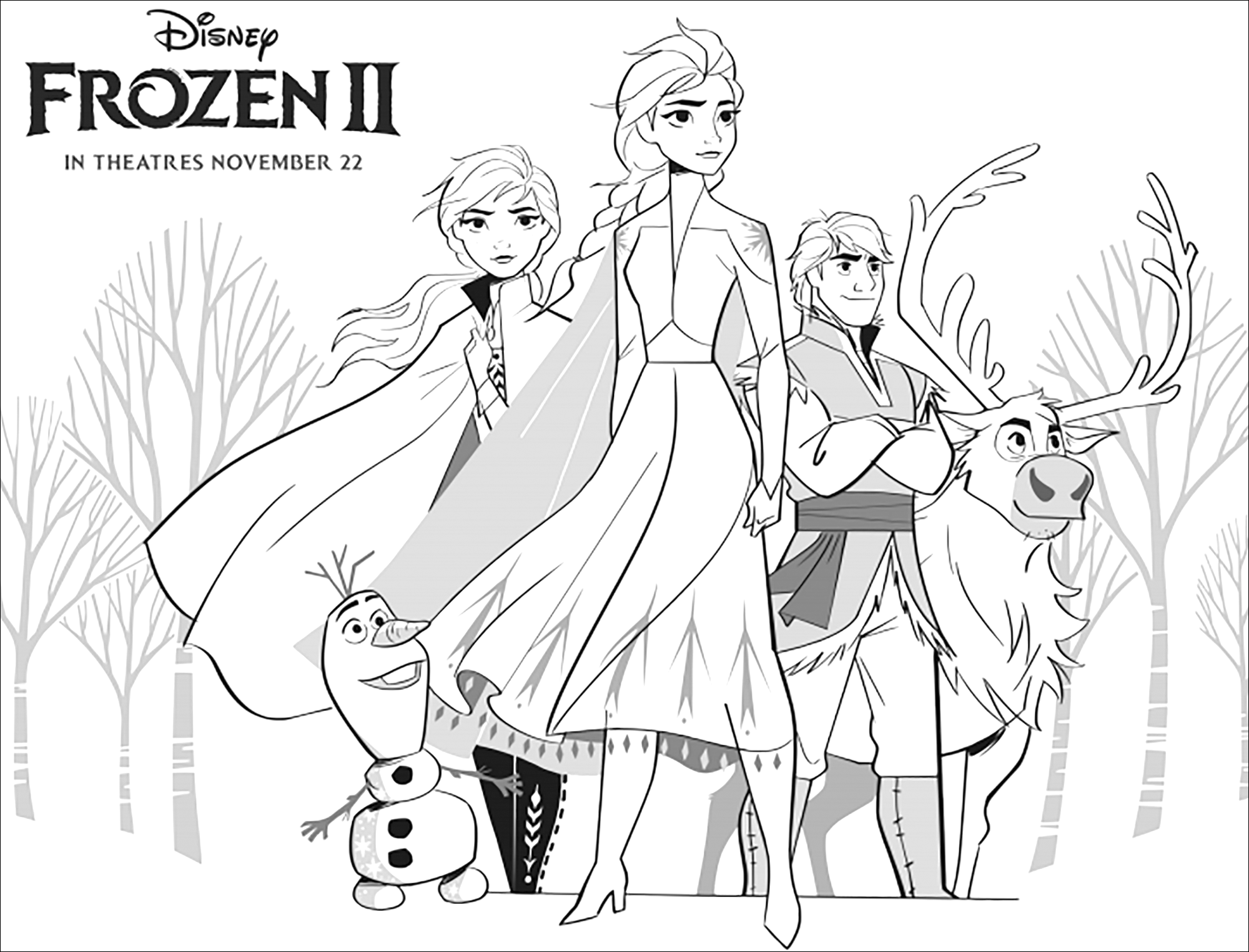 Printable Frozen 2 coloring page to print and color for free with Elsa, Anna, Olaf, Sven and Kristoff