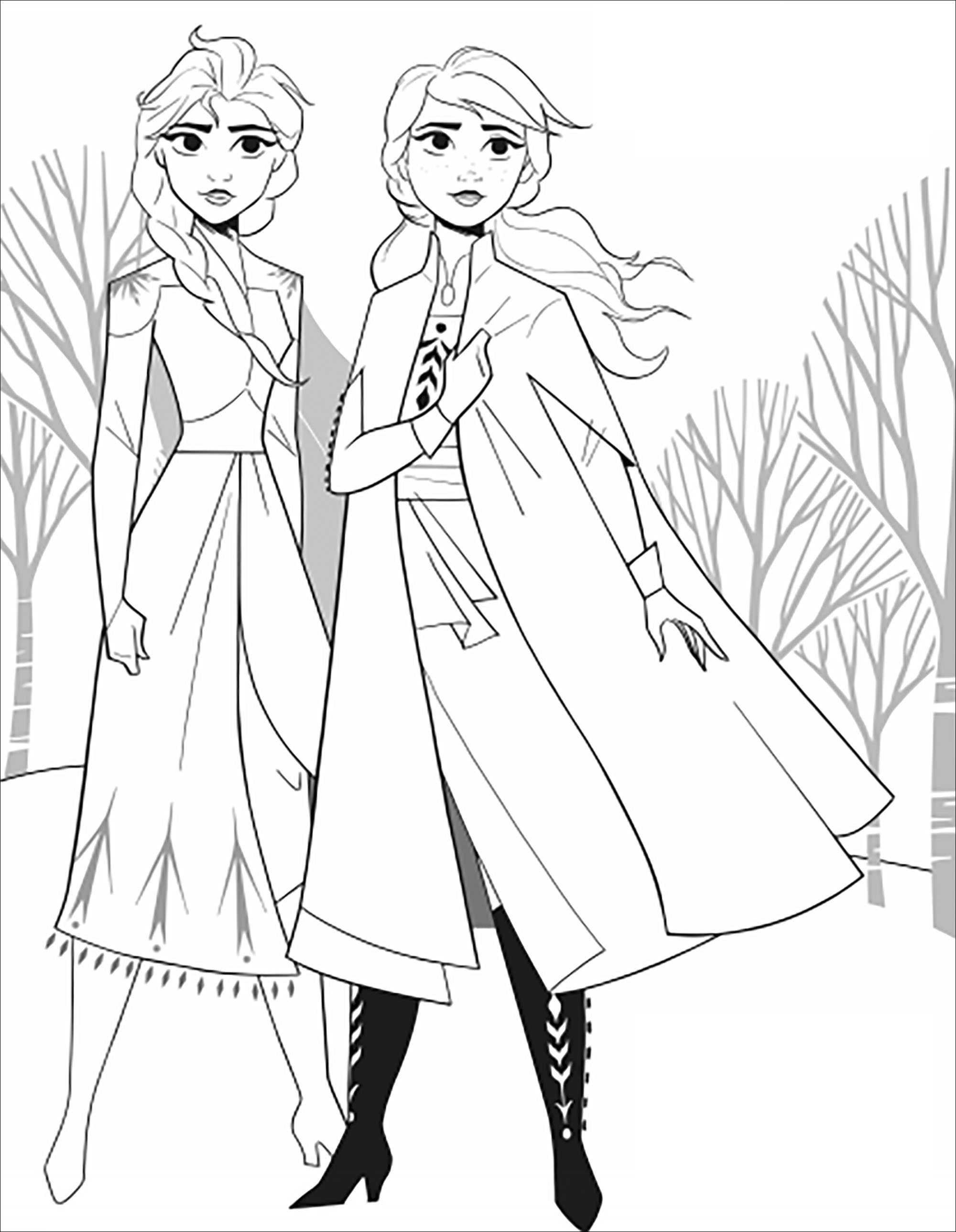 Frozen 2 Anna Elsa Without Text Frozen 2 Kids Coloring Pages
