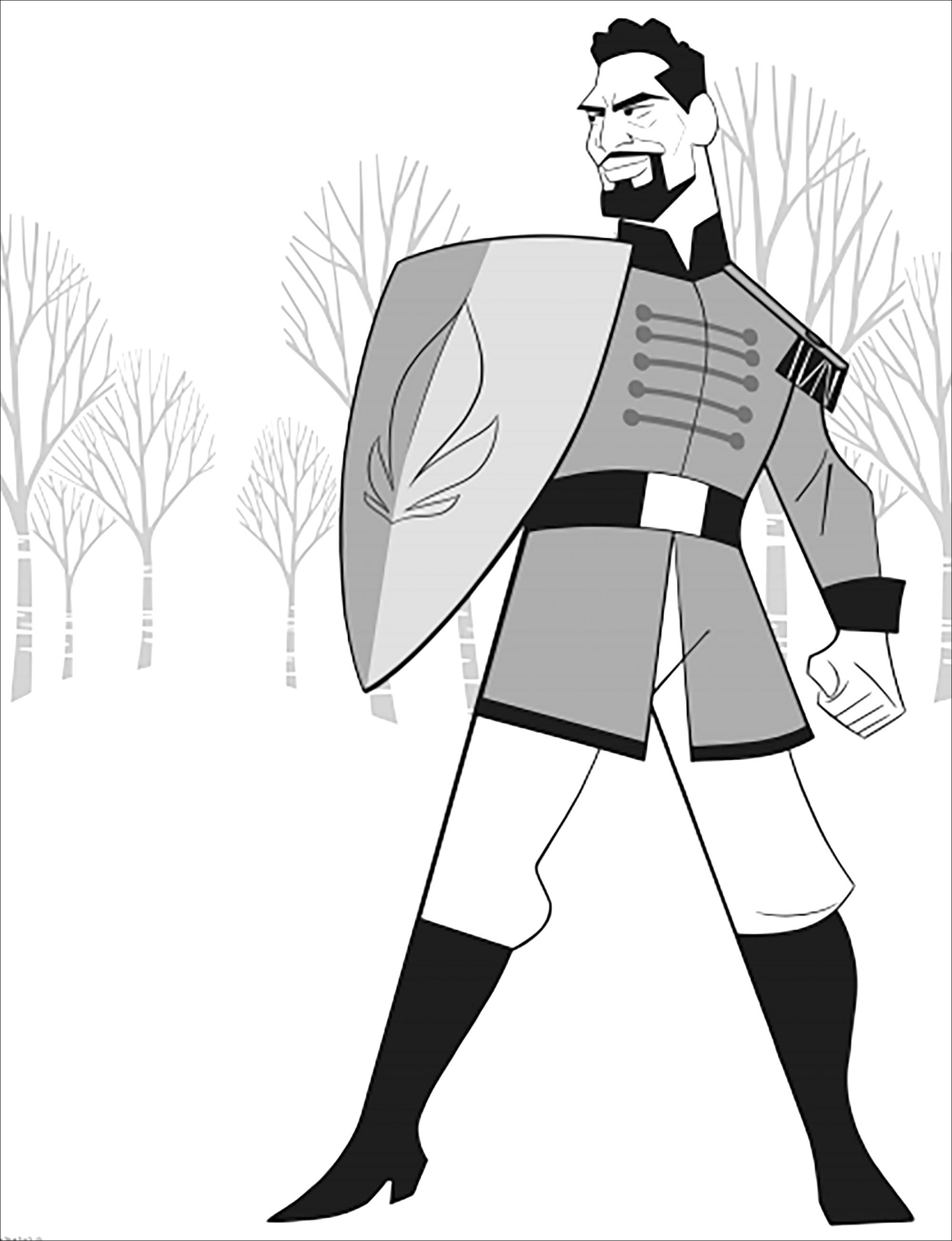 Free Frozen 2 coloring page to download, for children with Lieutenant Mattias