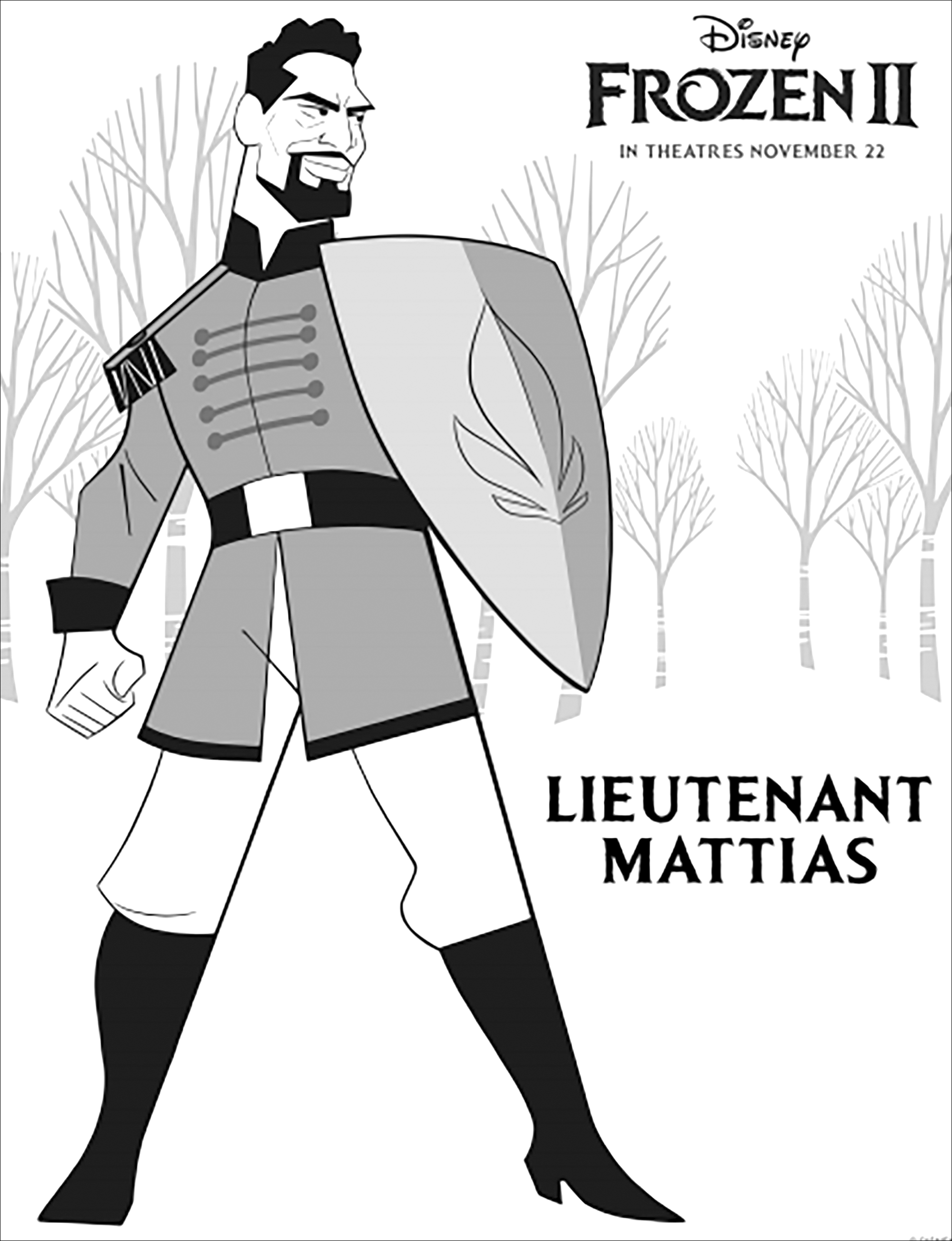 Frozen 2 coloring page to print and color with Lieutenant Mattias