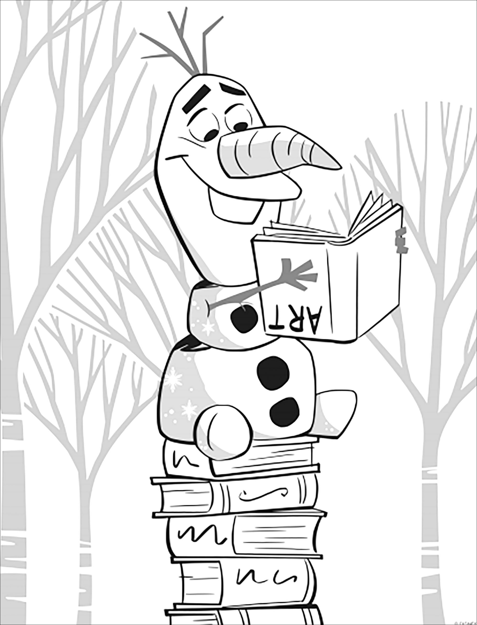 Simple Frozen 2 coloring page with Olaf