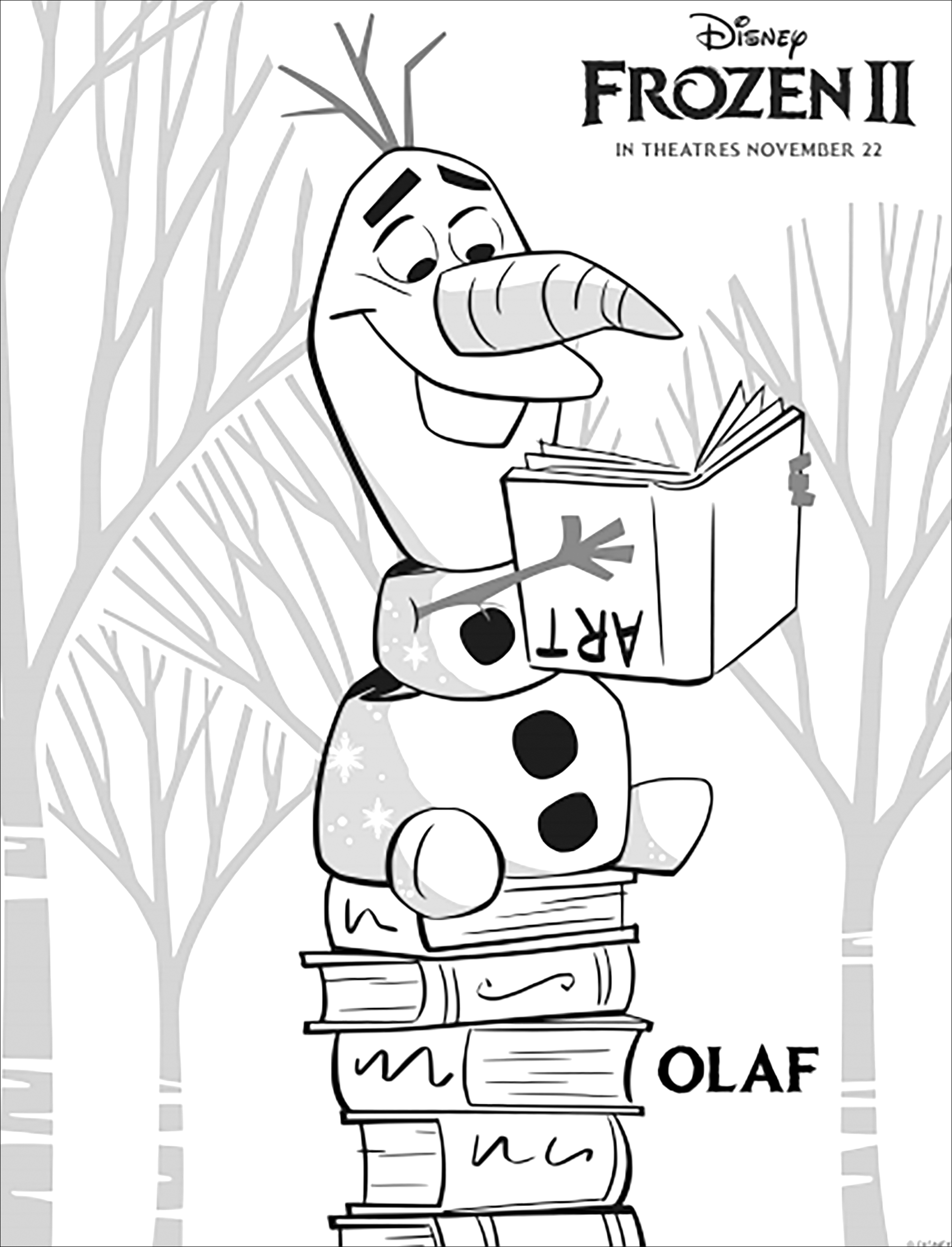 Frozen 2 coloring page to print and color for free with Olaf