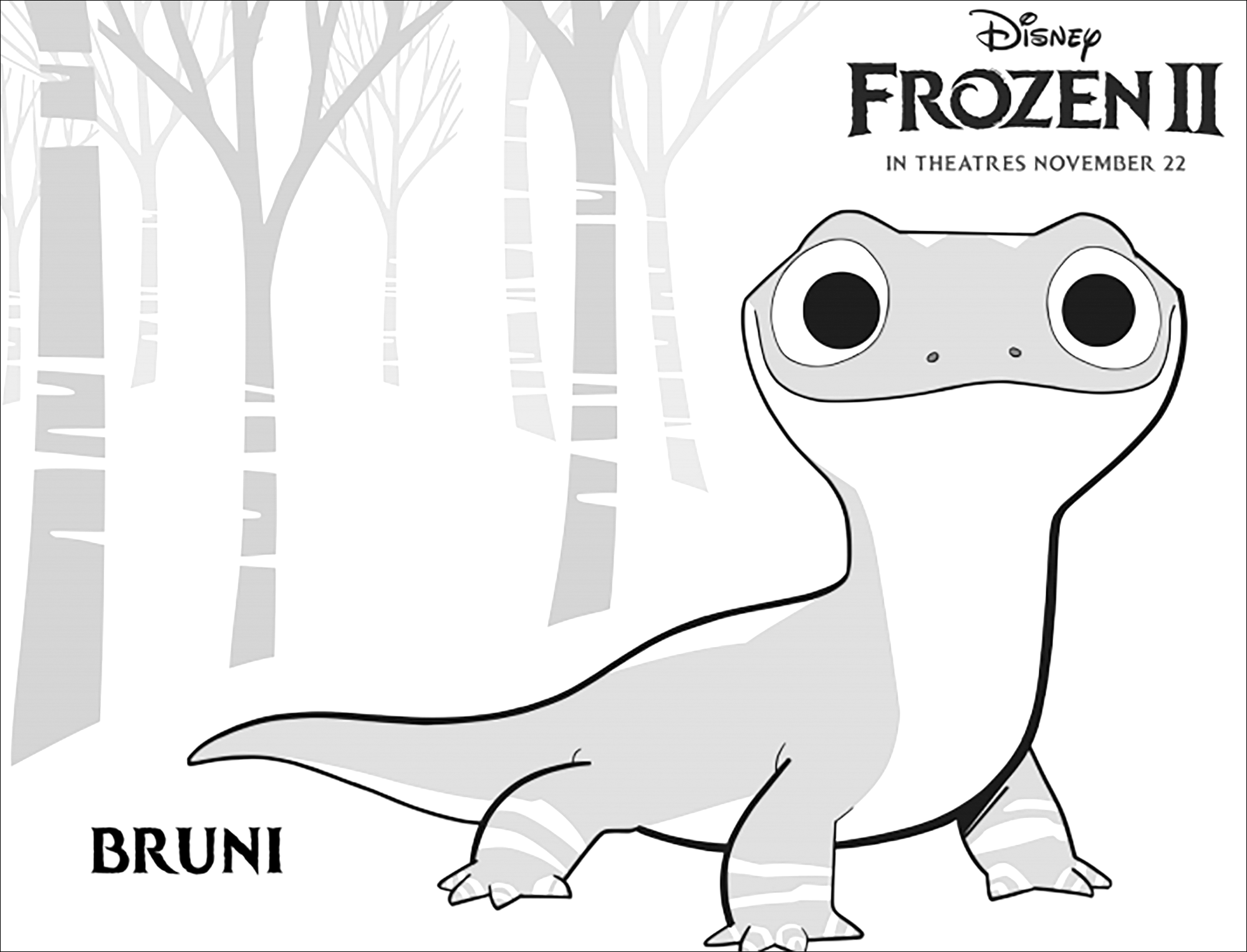 Frozen 2 Bruni Frozen 2 Kids Coloring Pages