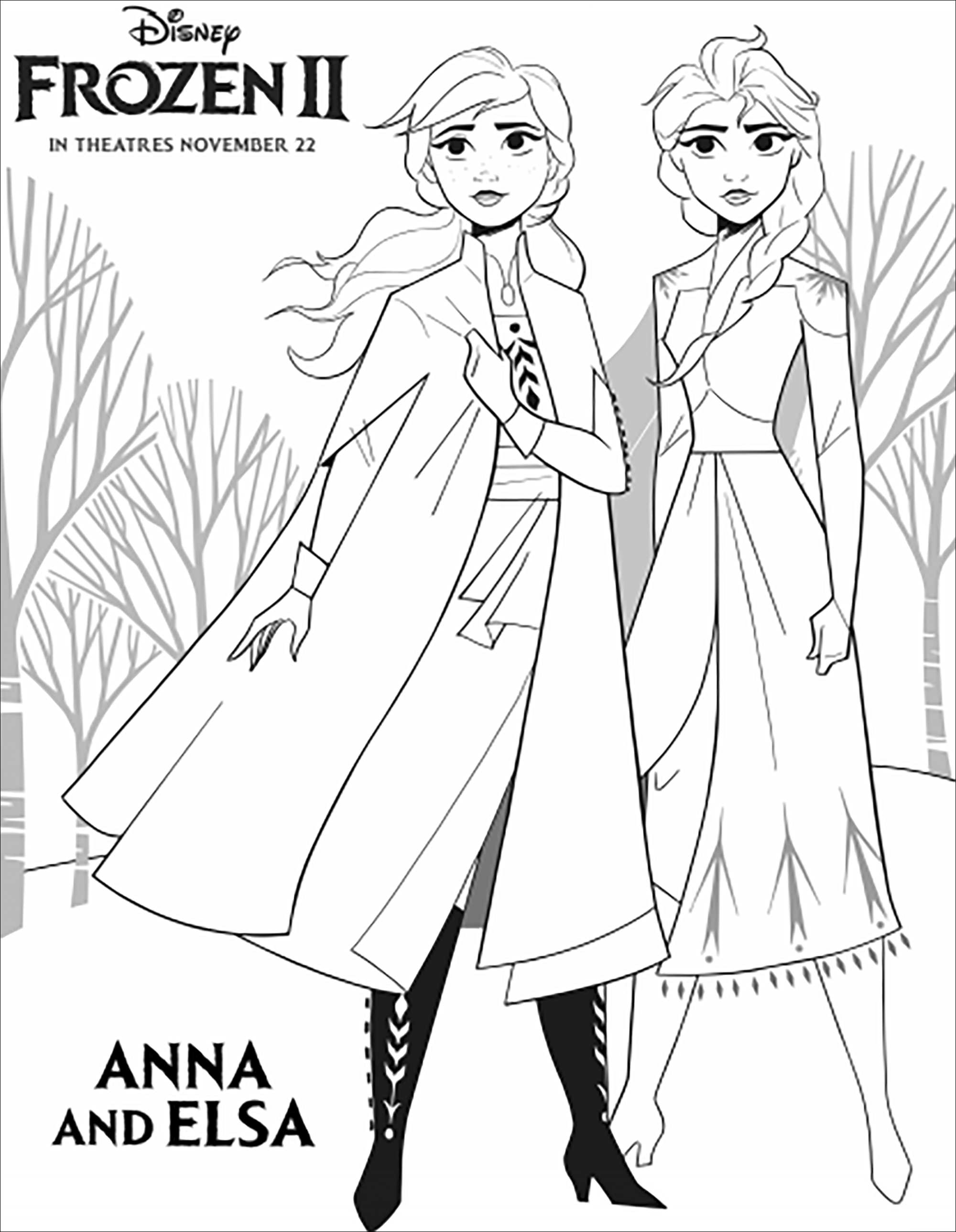 Incredible Frozen 2 coloring page to print and color for free with Anna & Elsa
