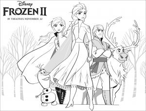 Frozen 2 : Elsa, Anna, Olaf, Sven, Kristoff