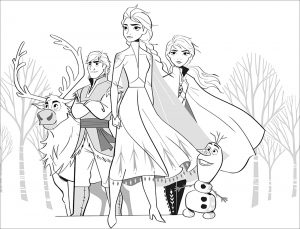 Frozen 2 : Elsa, Anna, Olaf, Sven, Kristoff (without text)