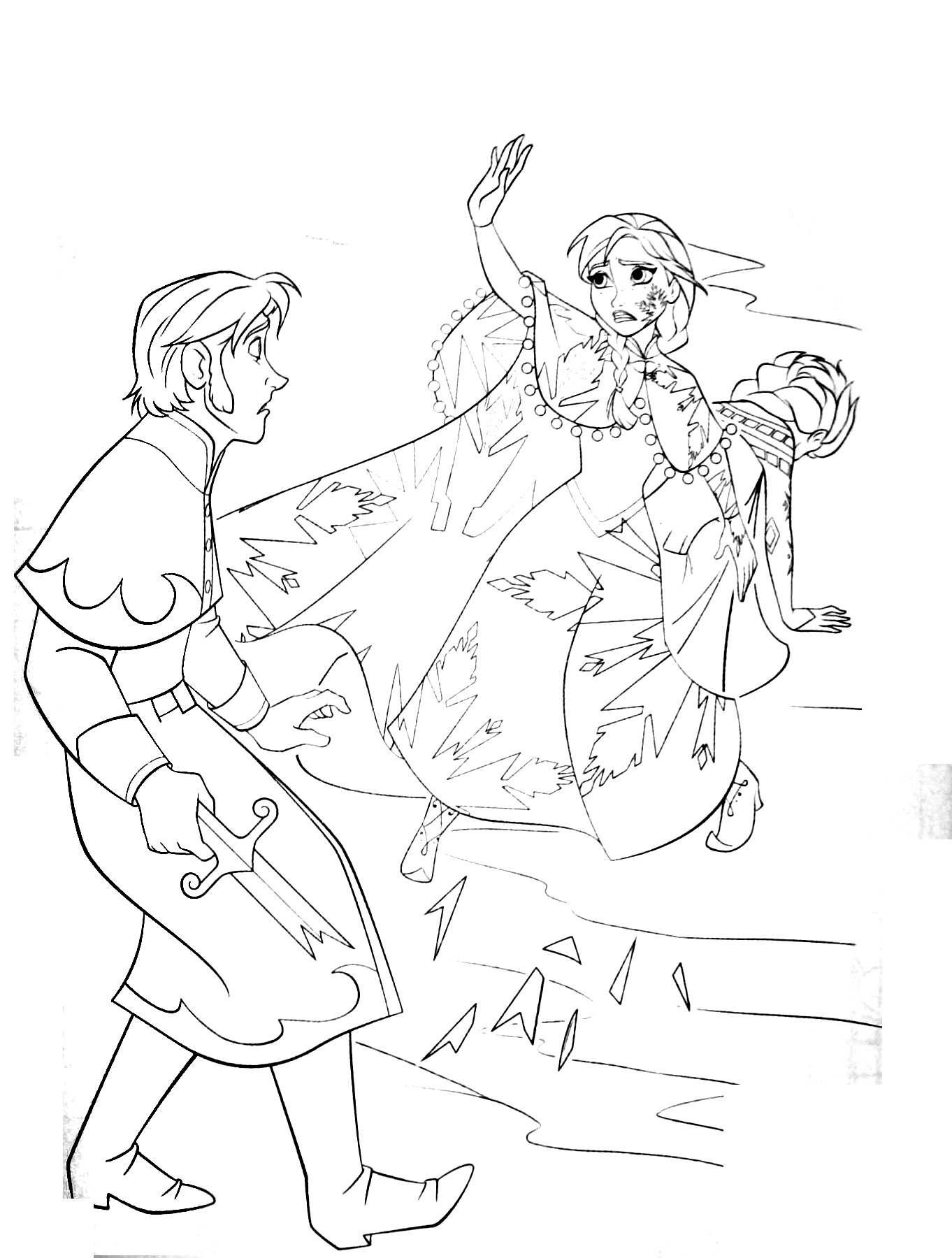 Funny Frozen coloring page for kids : Elsa protecting Anna from Hans