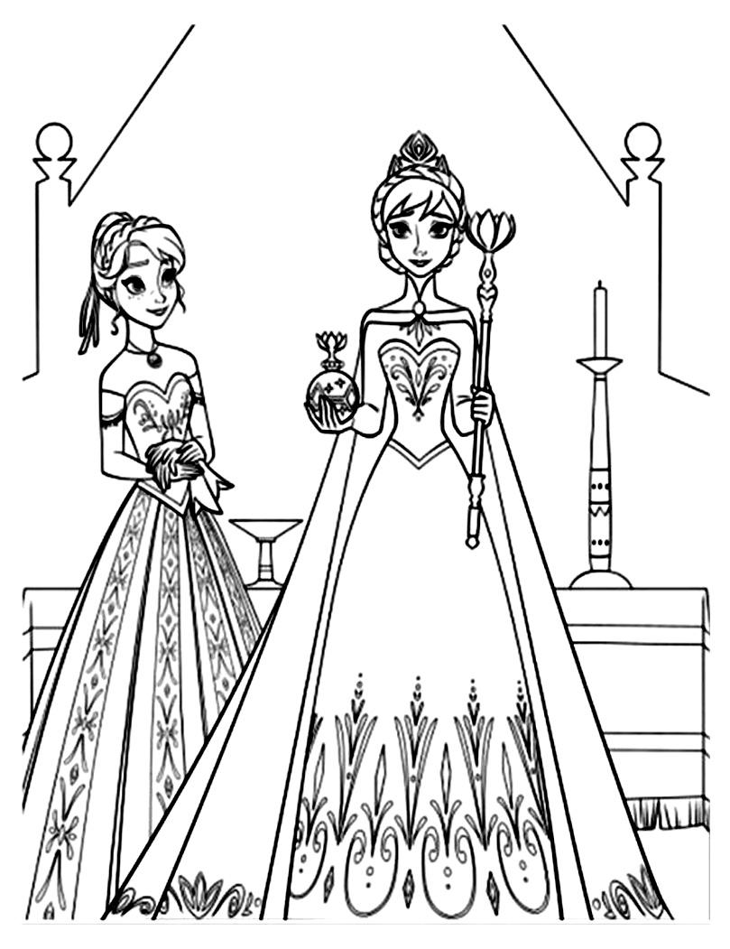 Coloriage Imprimable Elsa Et Anna Coloriage Coloriages