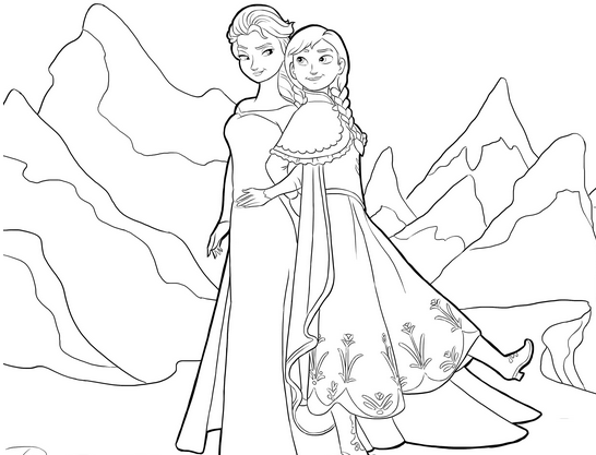 Free Frozen coloring page to print and color : The sisters Anna & Elsa