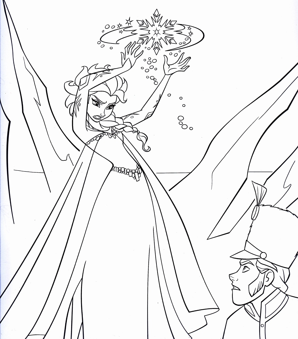 Easy free Frozen coloring page to download : Elsa is angry