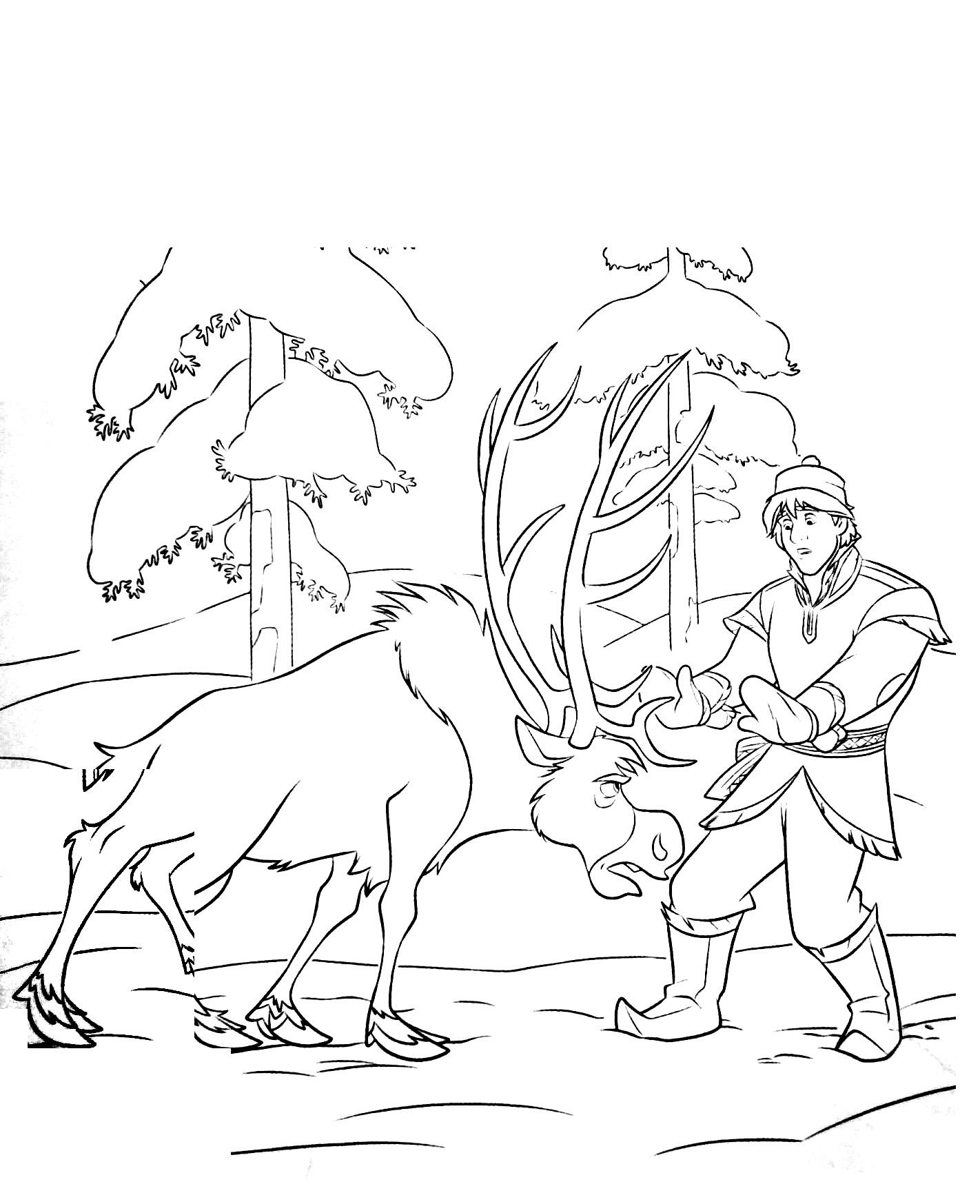 Simple Frozen coloring page : Sven & Kristoff