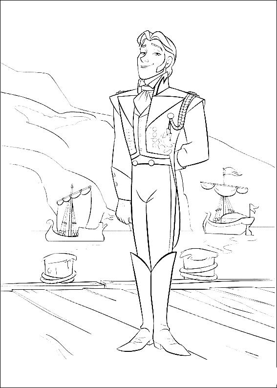 Frozen coloring page with few details for kids : Hans