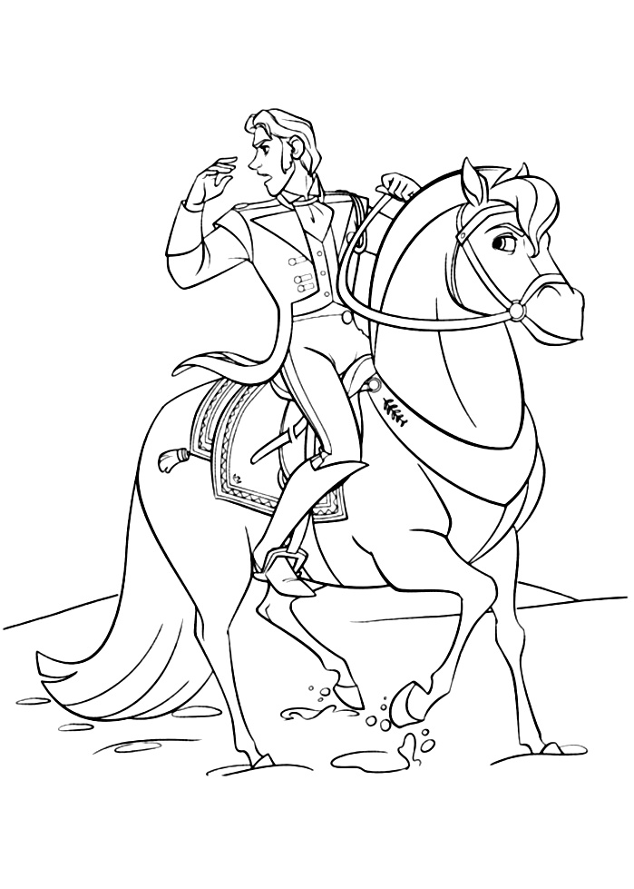 Simple Frozen coloring page for kids : Hans on his horse
