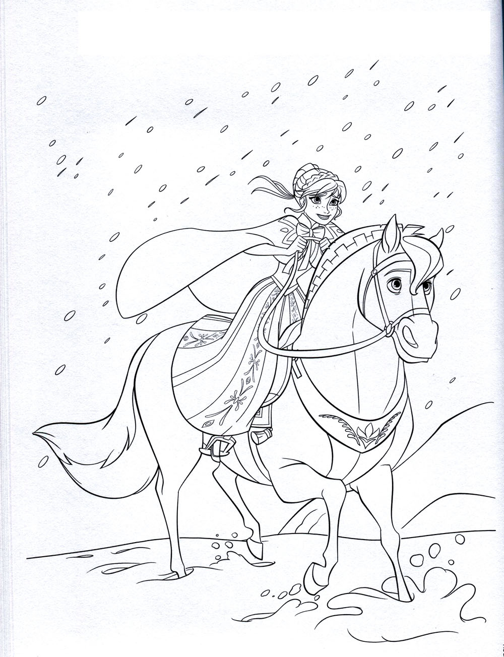 Free Frozen coloring page to print and color, for kids : Anna on horse