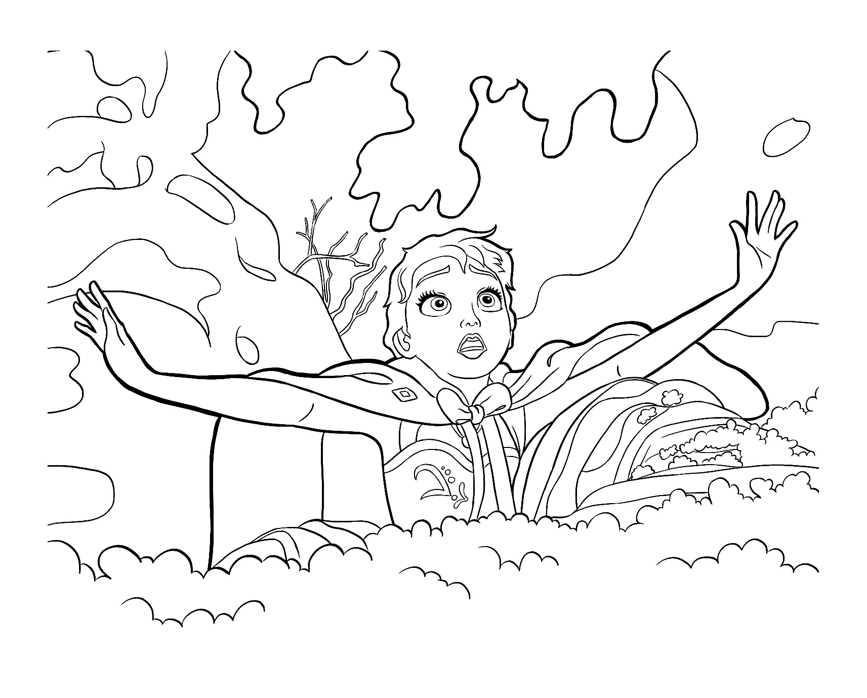 Simple Frozen coloring page : Elsa in bad situation