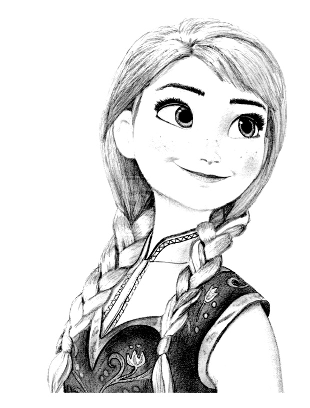 Frozen coloring page to print and color for free : Anna smiling