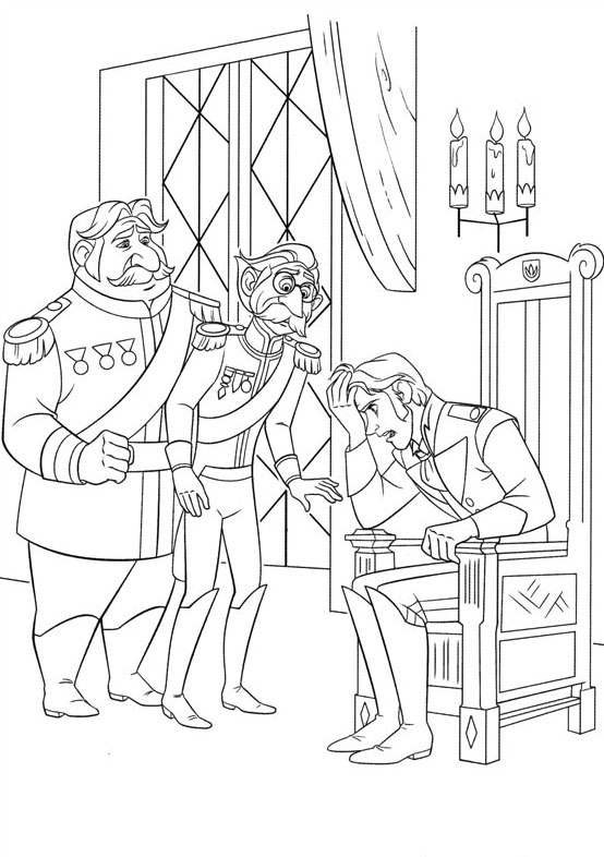Incredible Frozen coloring page to print and color for free : Hans, Duke of Weselton and other character