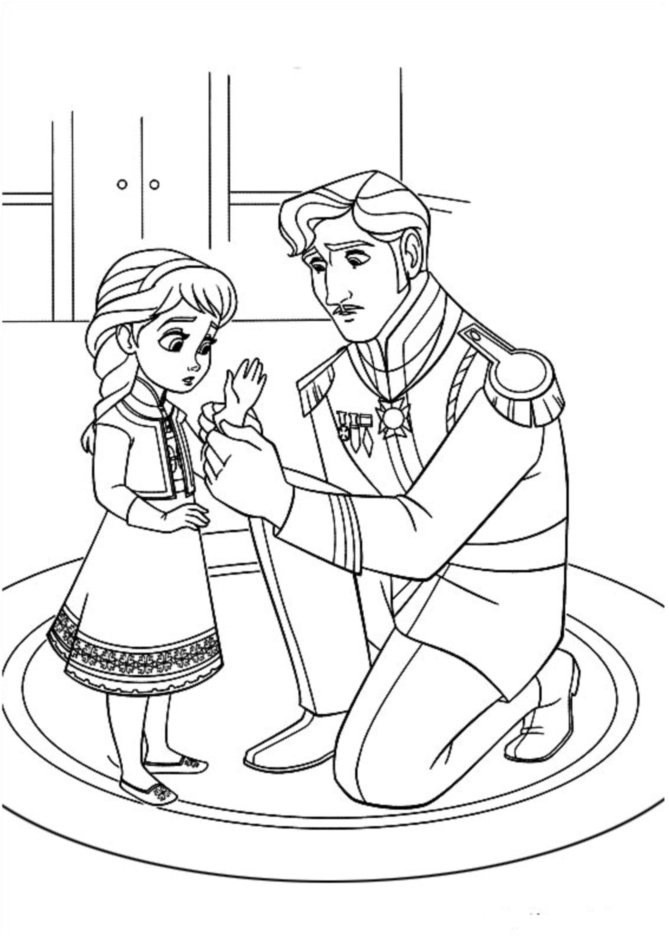 Beautiful Frozen coloring page to print and color : Anna and her father King Agnarr