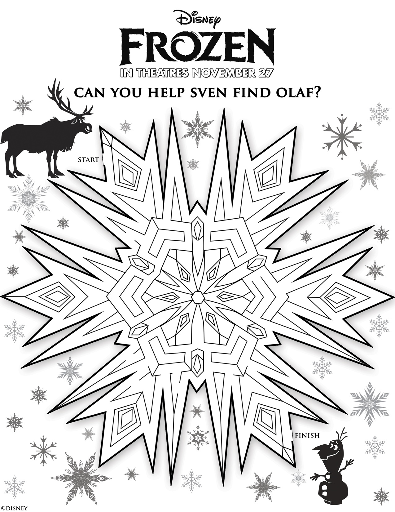 Frozen coloring page with few details for kids : Snow mandala