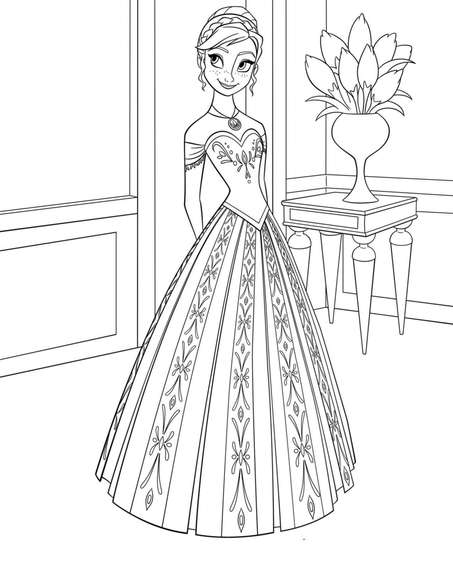 Free Frozen coloring page to print and color, for kids : Anna with a beautiful dress