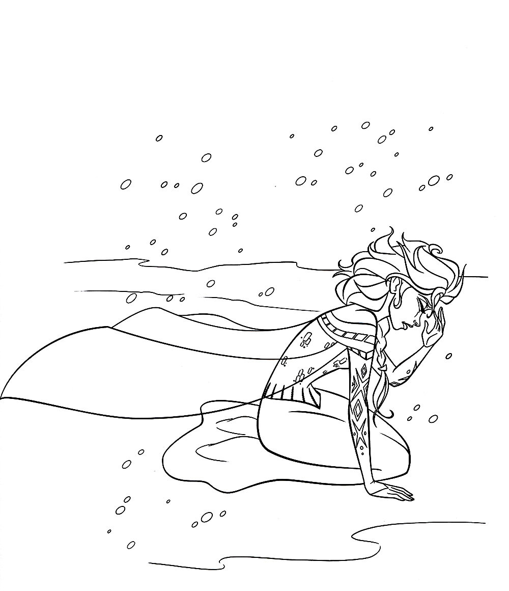 Simple free Frozen coloring page to print and color : Elsa crying
