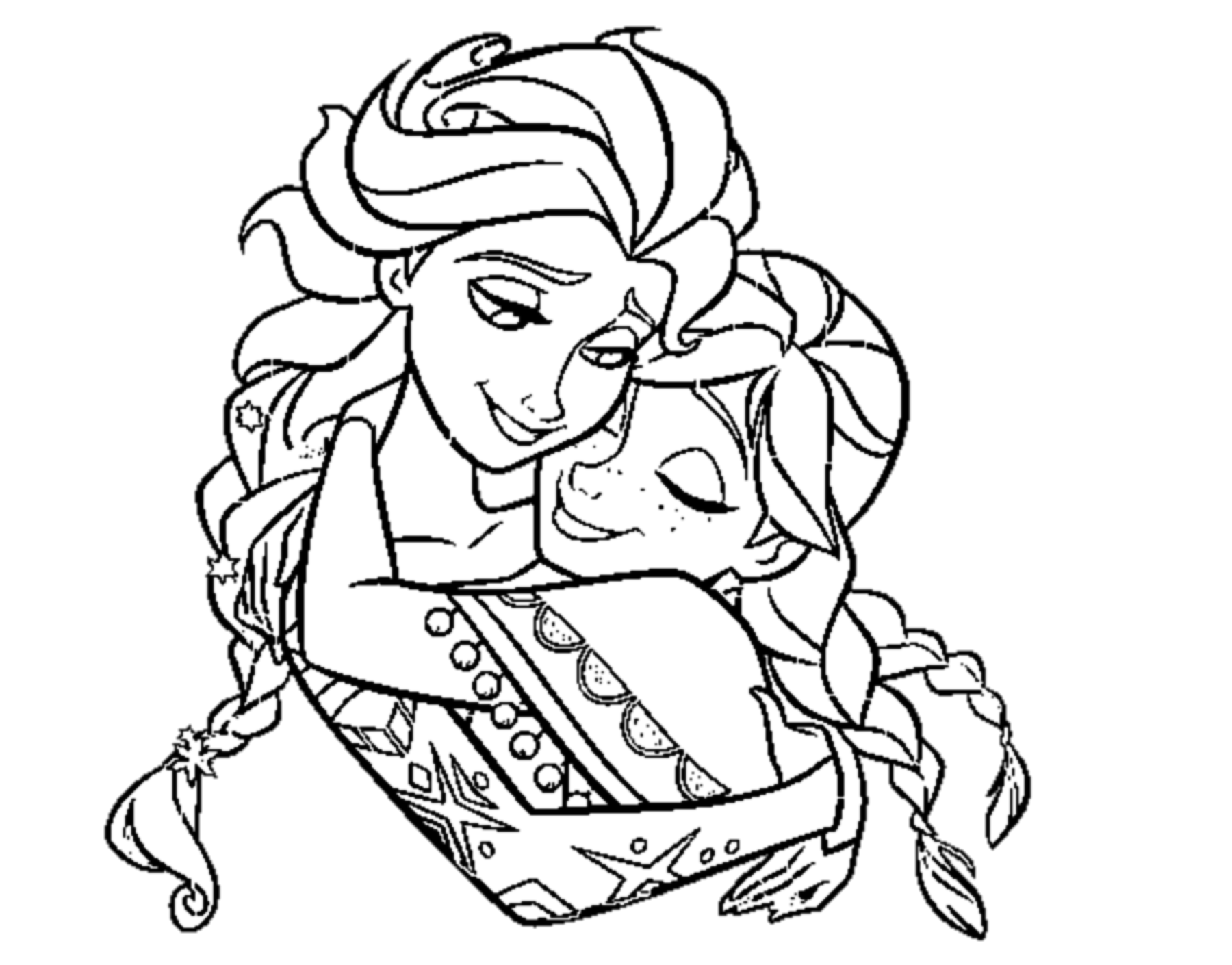 Simple frozen coloring page to print and color for free the sisters